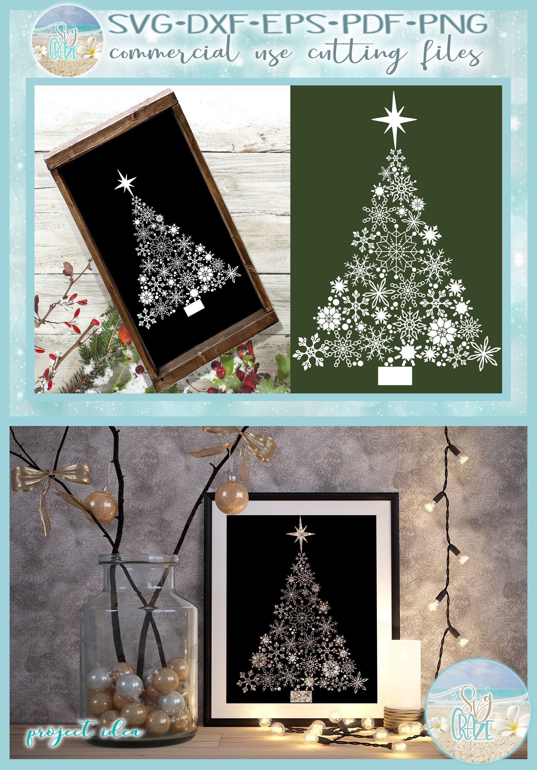 Snowflake Christmas Tree With Star Svg Dxf Eps Pdf Png Files Etsy In 2020 Star Svg Christmas Svg Svg