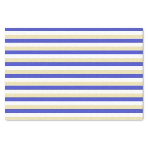 Blue, White and Beige Stripes Tissue Paper