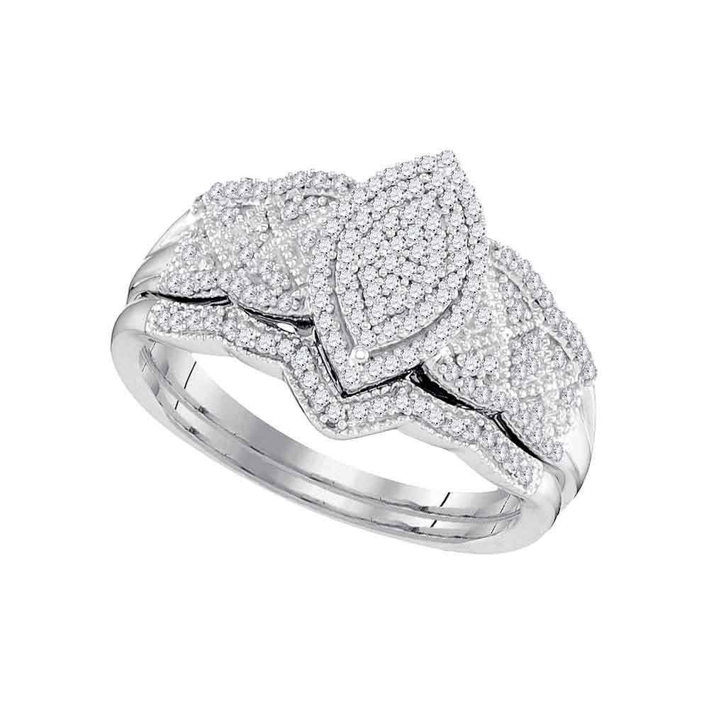 10kt white gold womens round diamond marquiseshape bridal