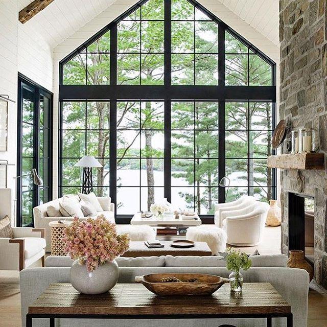 84 Likes 3 Comments Kate Abt Design Kateabtdesign On Instagram Lake House Living Can You Imagi Farm House Living Room Modern Lake House House Interior