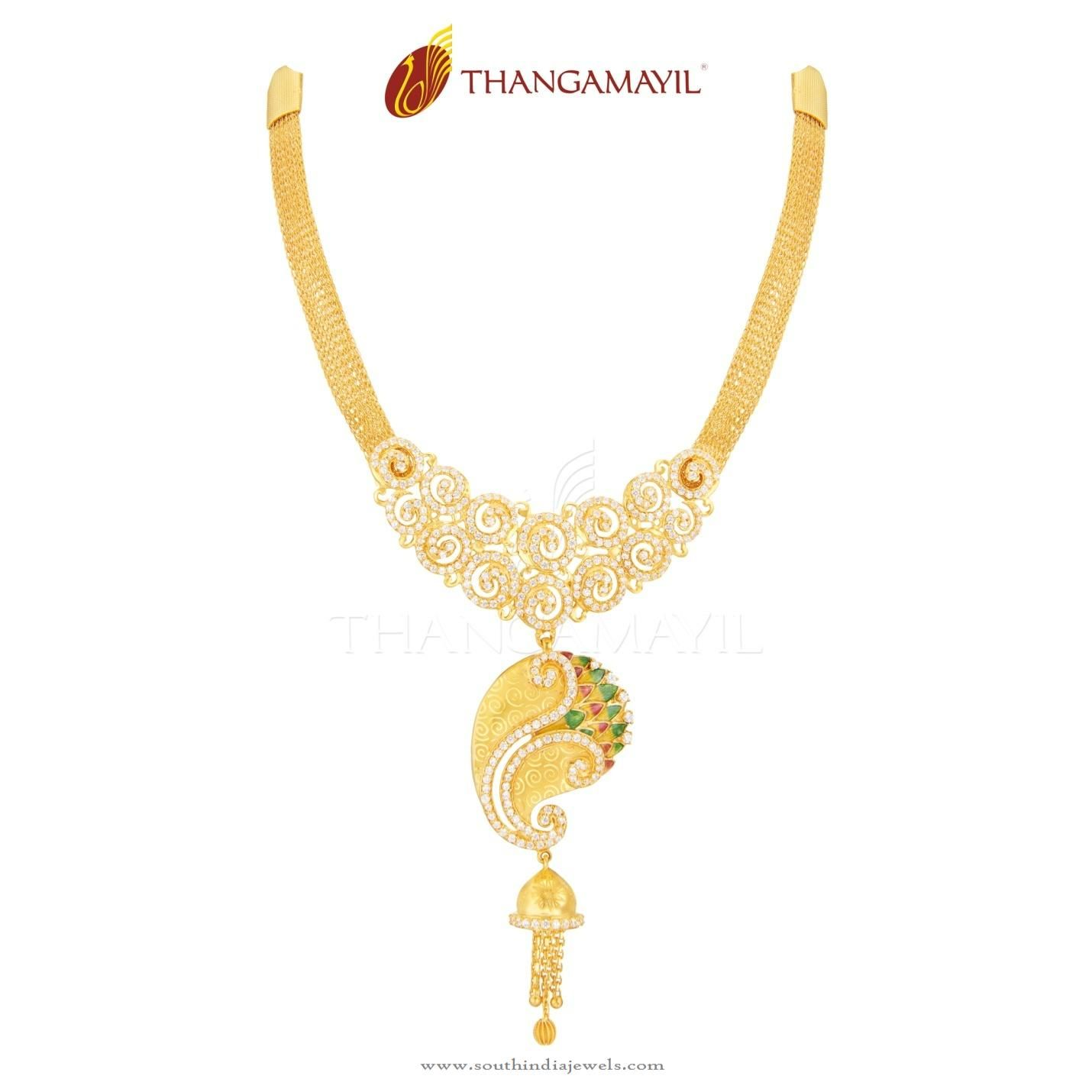 Gold Stone Necklace From Thangamayil Jewellery | Necklace designs ...