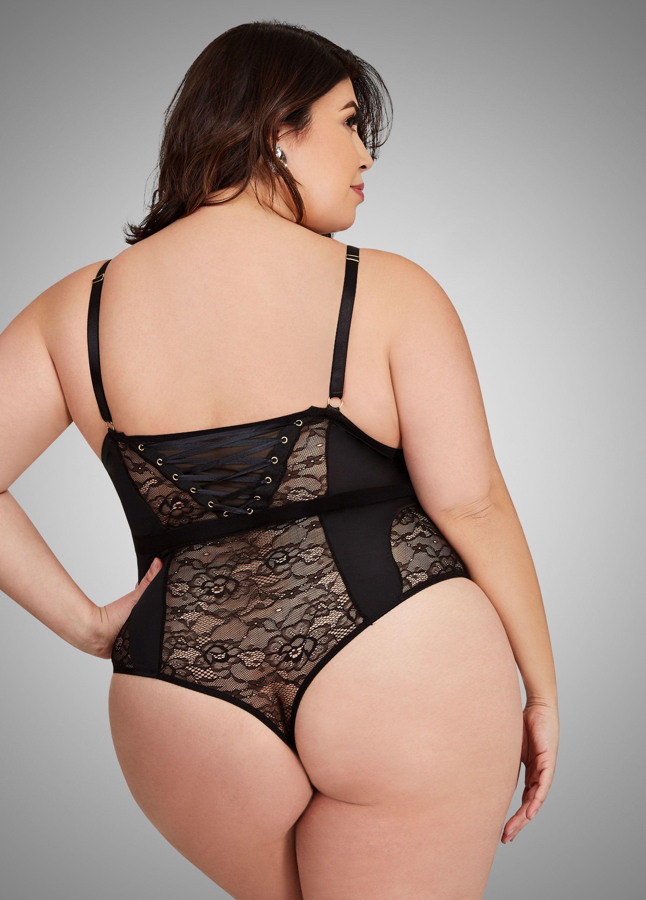 78f0af4657e86e Floral Lace Corset Bodysuit - Ashley Stewart Plus Size Intimates, Bodysuit  Lingerie, Sexy Lingerie