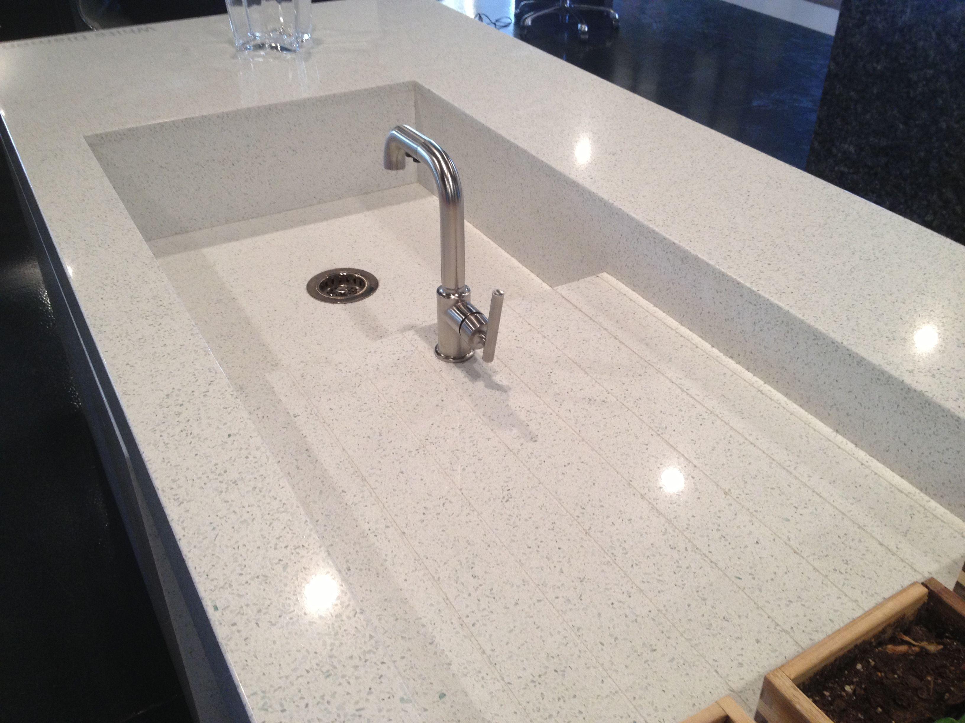 White Diamond Eco Freestanding Island With Custom Sink At Cosentino Phoenix Showroom