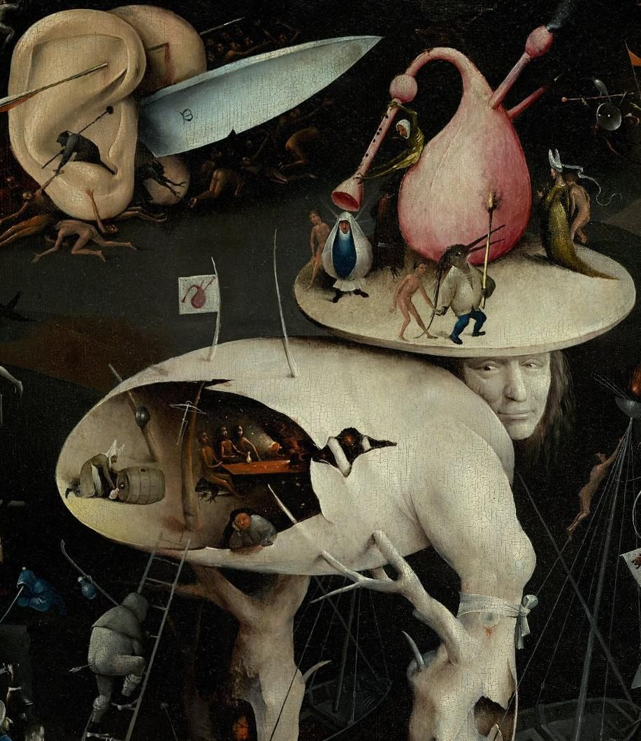 """❤ - HIERONYMUS BOSCH (1450 - 1516) - Triptych The Garden of Earthly Delights.  The """"Tree-Man"""" of the right panel, and a pair of human ears brandishing a blade. A cavity in the torso is populated by gamblers and drunkards. It is believed that the tree-man may represent the Antichrist.  Museo del Prado, Madrid."""