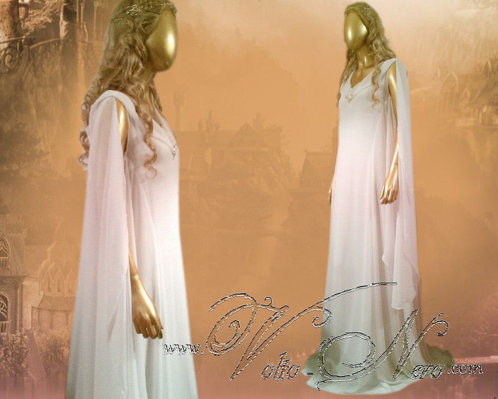 Lord of the Rings Hobbit Lady Galadriel Cosplay Costume Dress Christmas