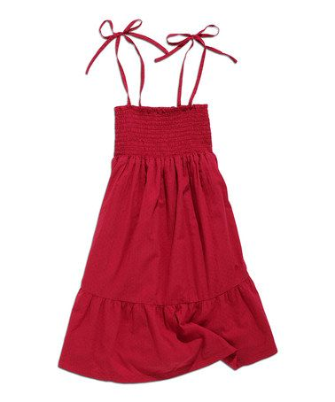 Another great find on #zulily! Melon Smocked Tie-Strap Dress by TIMEOUT #zulilyfinds