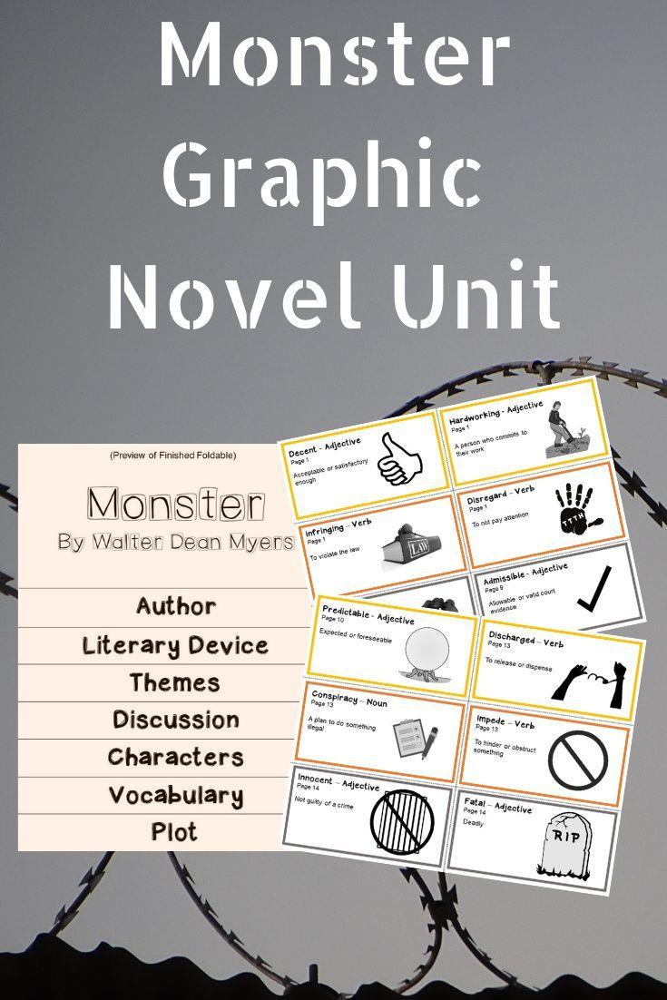 Monster graphic novel unit activities walter dean myers