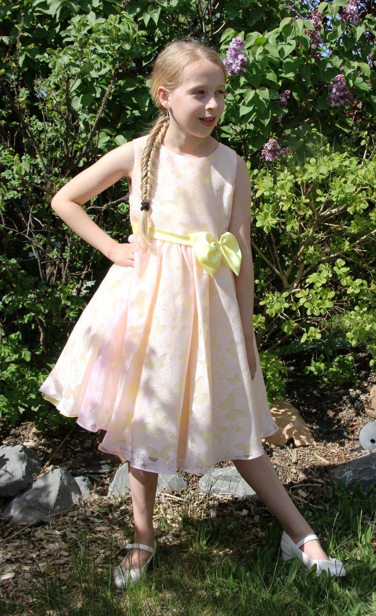bimaro mädchen kleid romy rosa gelb festlich schmetterlinge