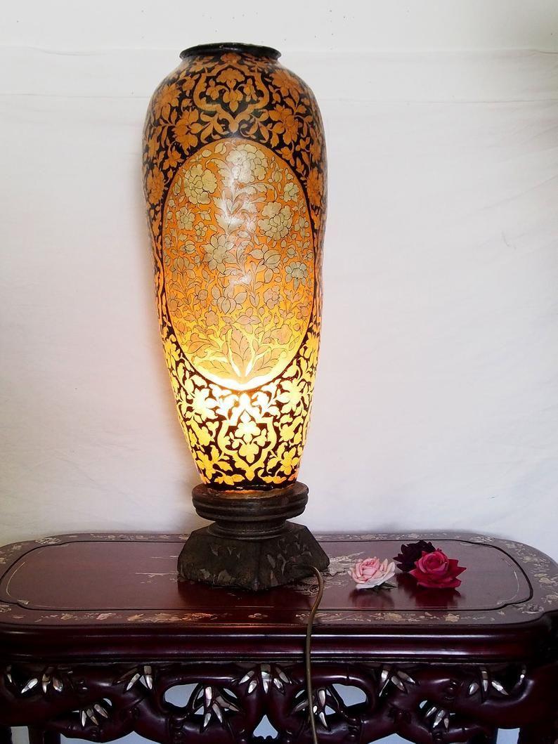 Antik Orientalische Handbemalte Lampe Kamelleder Tischlampe Nachttischlamp Tischleuchte Nachtlampe Stehleuchte Stehlampe Handarbeit Pakistan Nachtlampen Lampen Tischlampen