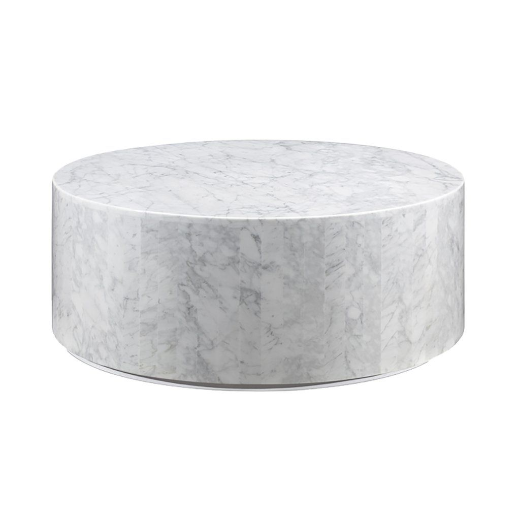 Carrara Marble Drum Coffee Table In 2020 Drum Coffee Table