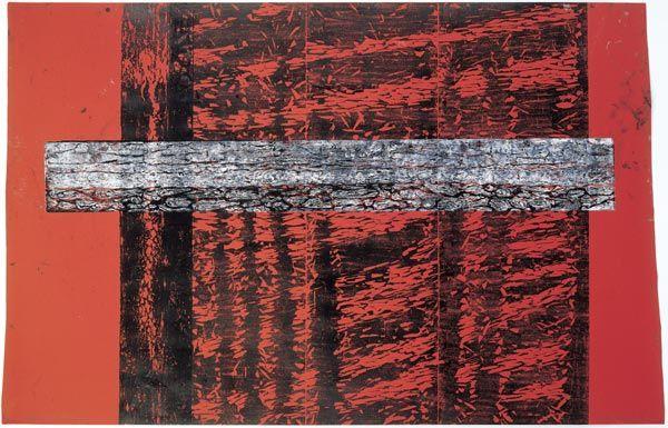 Zermützel, Abend, 1996. 4 Platten, davon eine zusammengesetzt: schwarz, weiß; blaues Canson-Papier; 152 x 233 cm;  Matthias Mansen