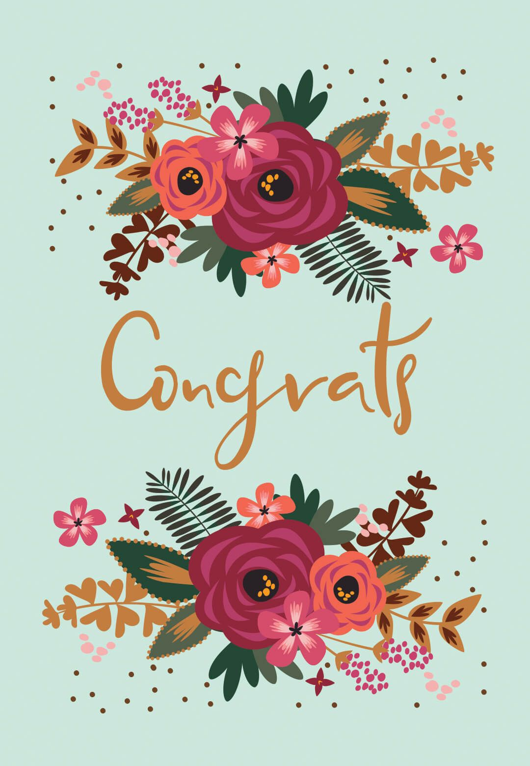 Floral Congrats Free Printable Wedding Congratulations Card Greetings Island Wedding Congratulations Card Congratulations Card Baby Congratulations Card