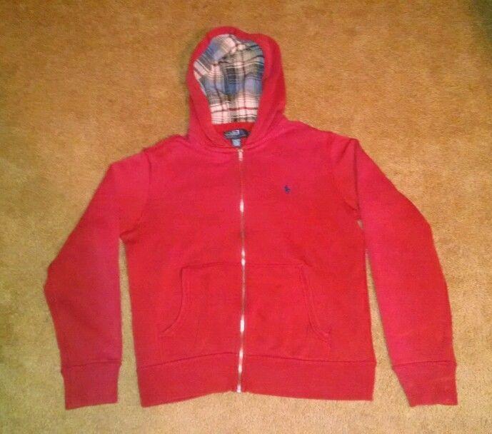 Polo Ralph Lauren Men's Red Full Zip Hoodie Size Medium #PoloRalphLauren #Hoodie