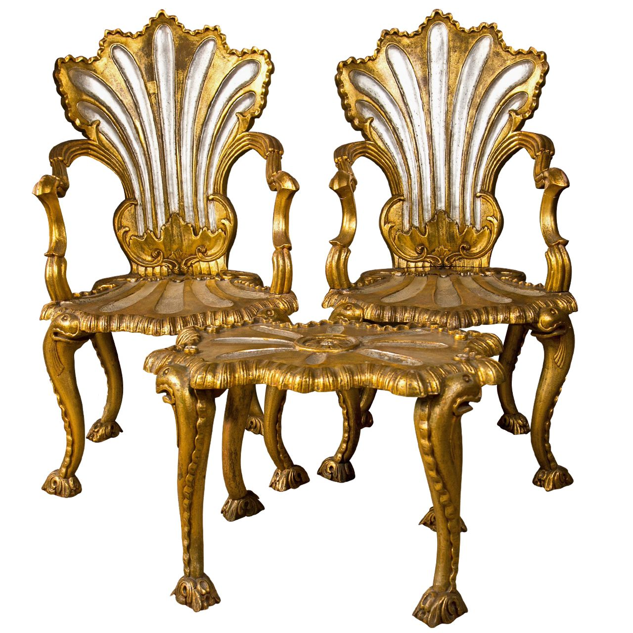 1stdibs | Spectacular French Rococo Style Armchairs U0026 Stool By Jansen