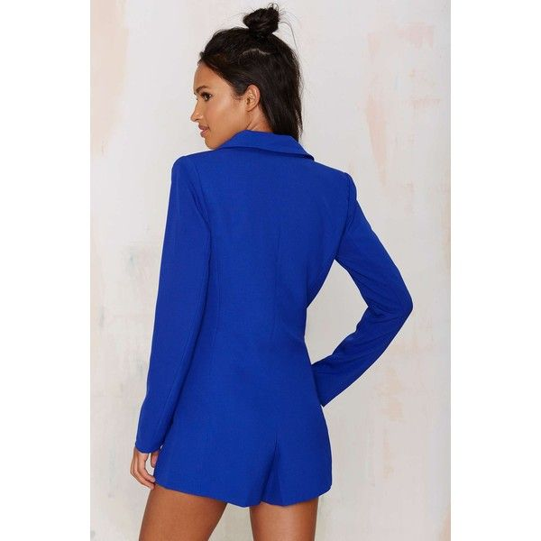 e071288c20a6 No Tux Given Blazer Romper ($88) ❤ liked on Polyvore featuring jumpsuits,  rompers, playsuit romper, royal blue romper, blue tuxedo, tuxedo romper and  royal ...