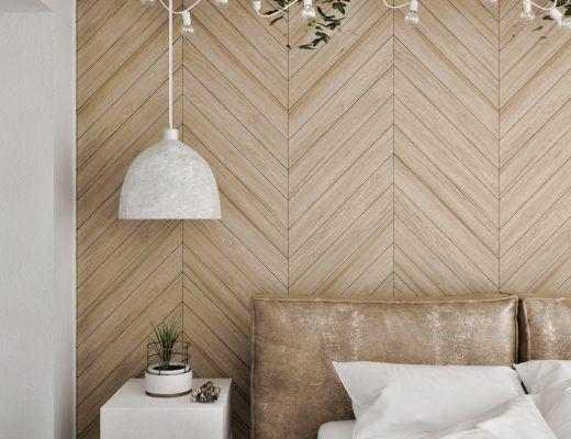 10x Visgraat Muur : Slaapkamer met betonvloer en visgraat muur a place to rest