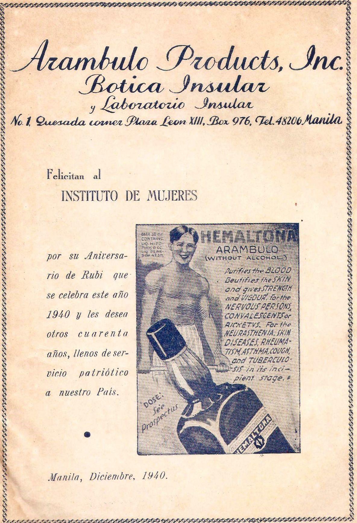 Vintage Botica Insular ad Pubblicità