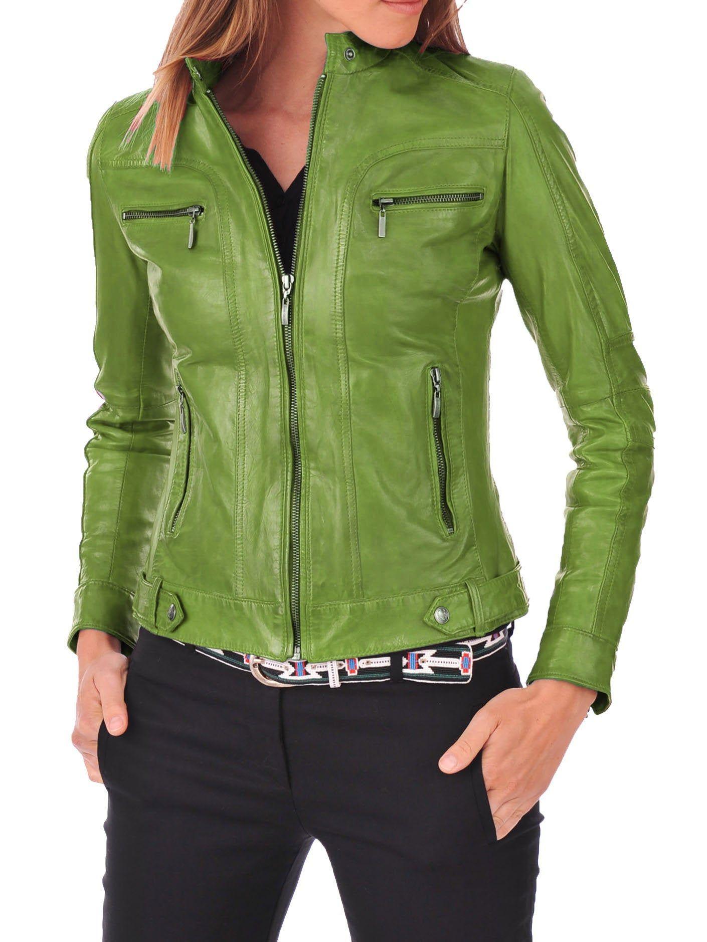 Women's Leather Jacket Bomber Biker Genuine Lambskin