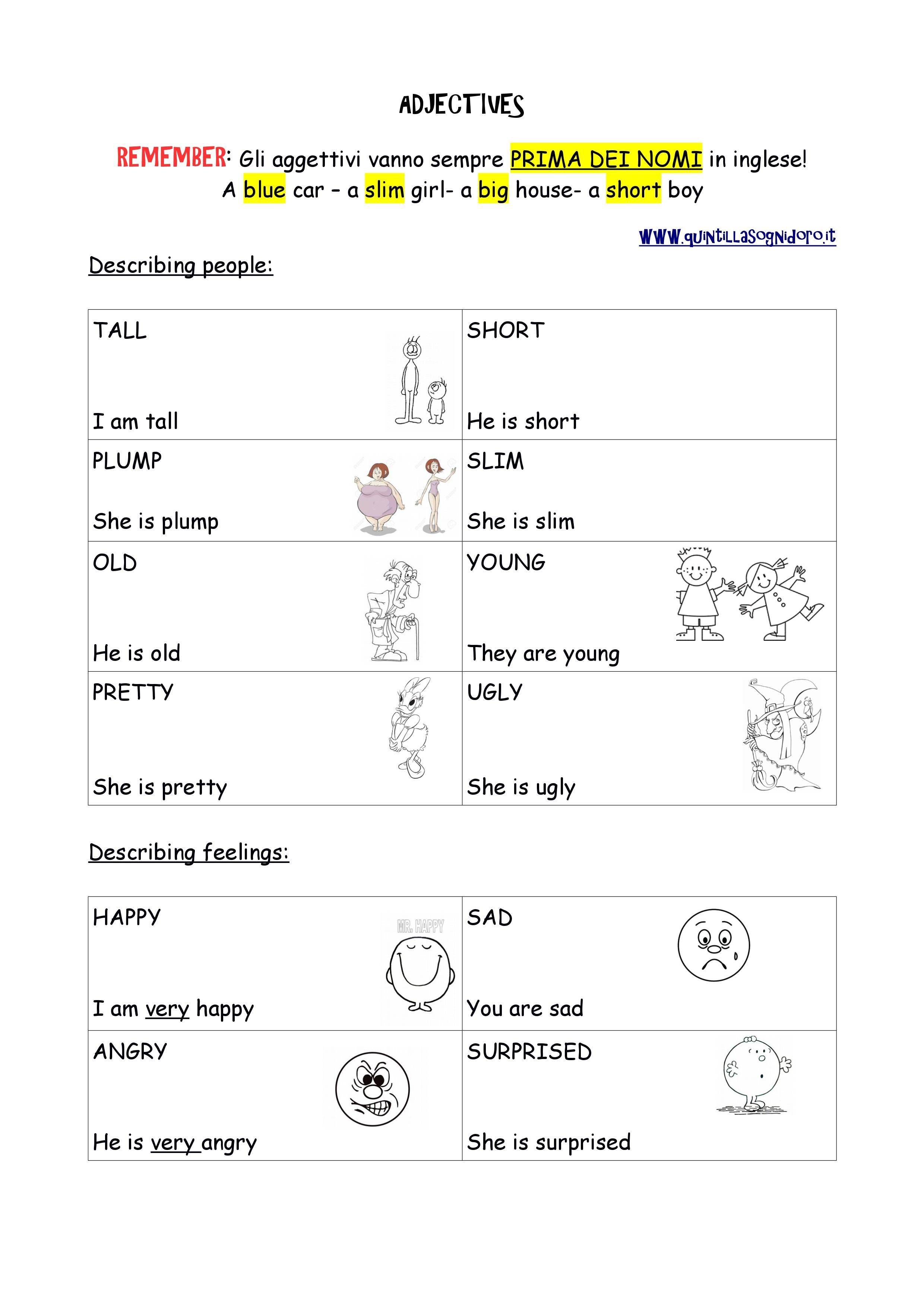 Aggettivi In Inglese Livello A2 Adjectives For Kids