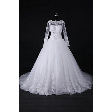 2017 Ball Gown Wedding Dress Court Train Jewel Lace / Tulle with Appliques / Beading / Sequin – USD $ 179.99
