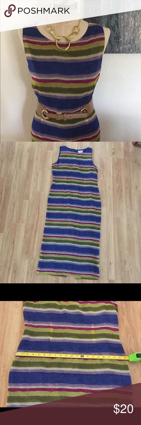 Lyst - Adrianna Papell Sheer-Stripe Flared Dress in Metallic