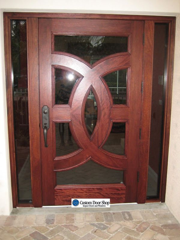 Extra Wide Front Door. Custom Door With Circle Design. Mahogany Wood Door  With Interlocking Circles And Glass With Sidelights. Unique And Modern Look  With ...