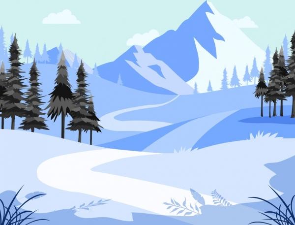 Mountain Landscape Background Winter Snow Theme Cartoon Design Free Vector In Adobe Illustrator Ai Landscape Background Snow Illustration Mountain Landscape