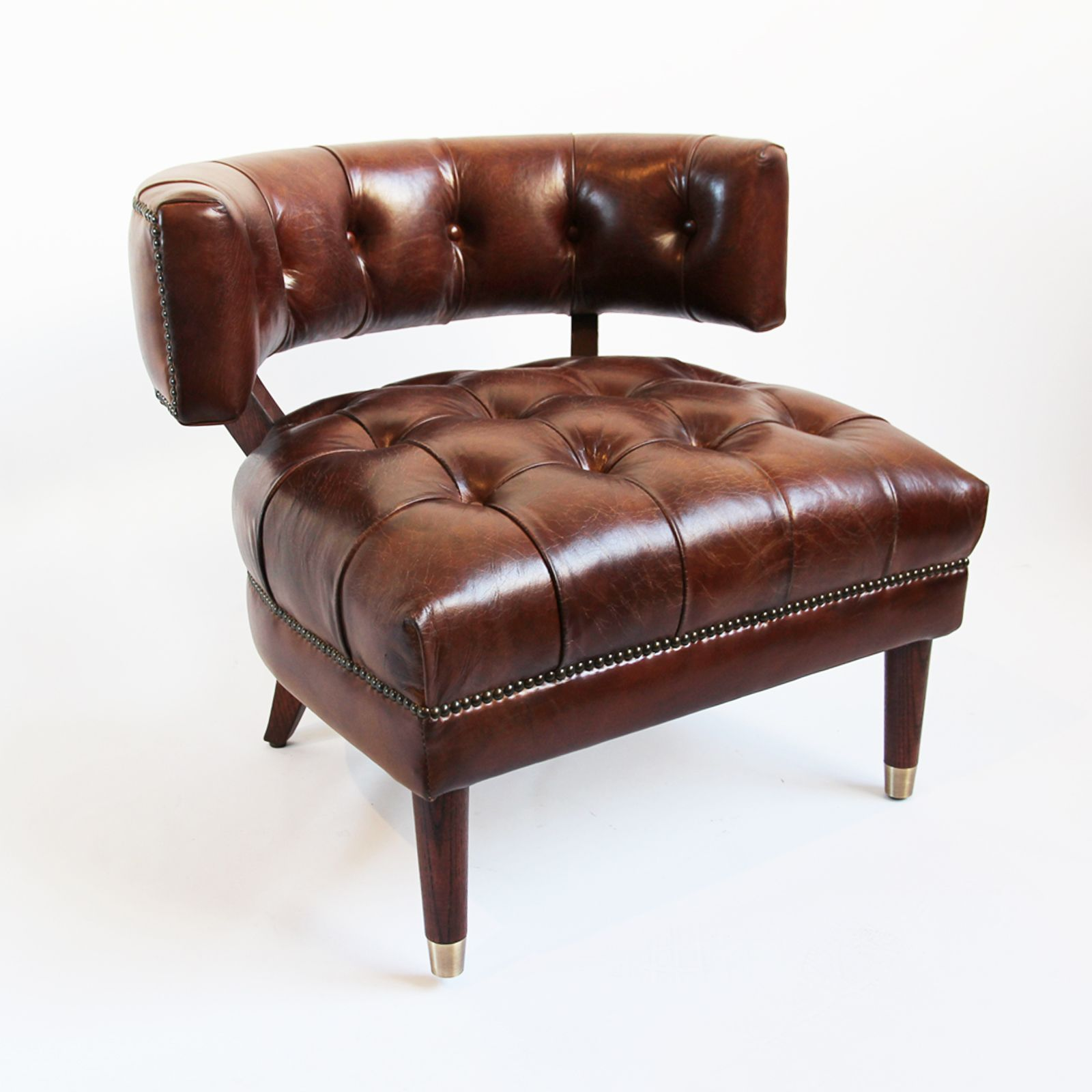 Top Grade Chestnut Leather Horse Shoe Side Chair Bea Leather