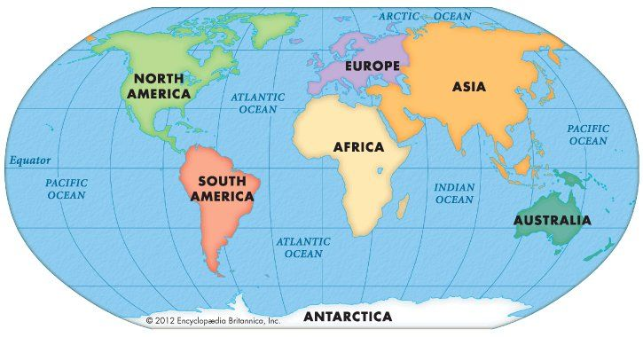 Map Still Earth S Seven Continents Are Asia Africa North America