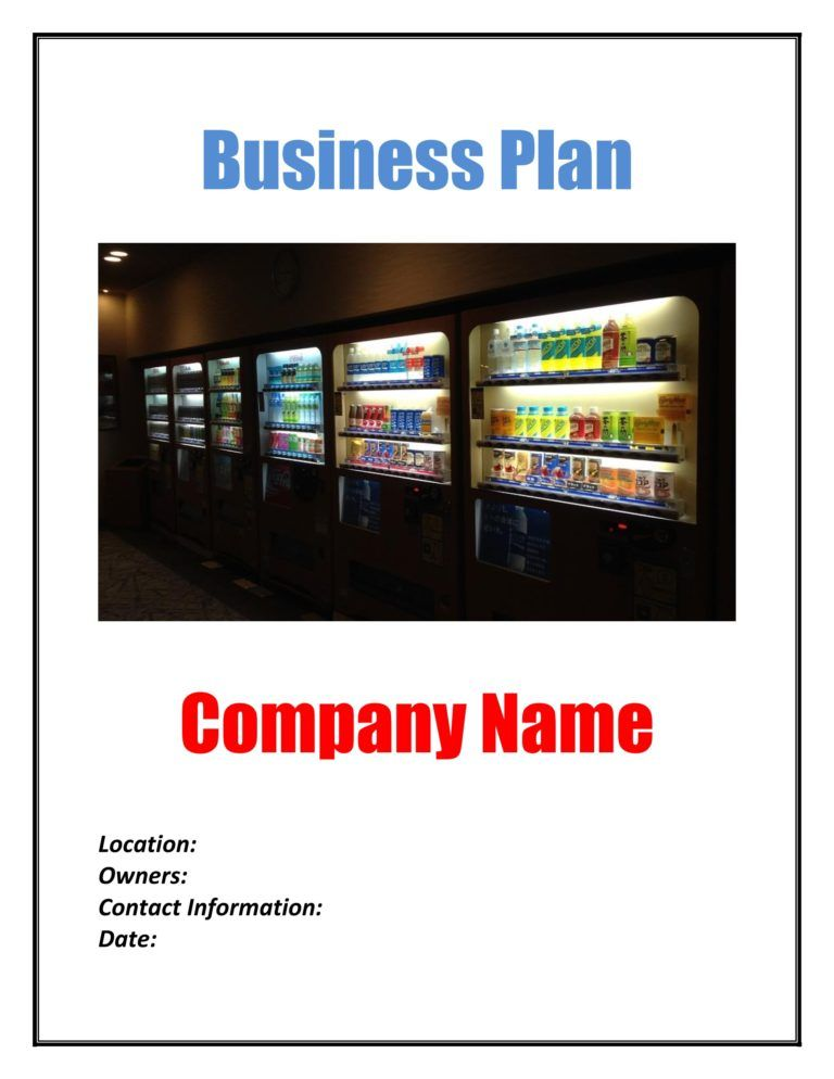 Vending Machine Business Plan Template Sample Pages in