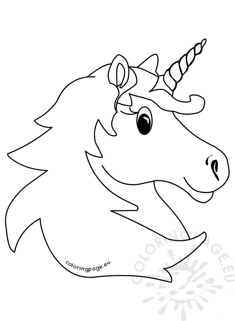 Vector Illustration Magic Unicorn Head Coloring Page Emoji
