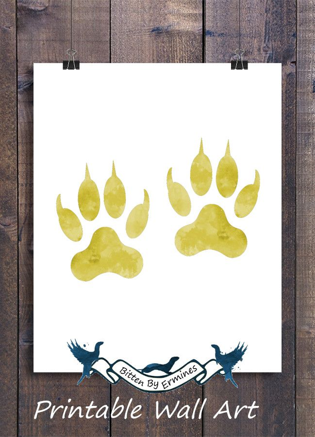 Printable Wall Art - Yellow Cat Paw Prints For A Cat Themed Boy ...