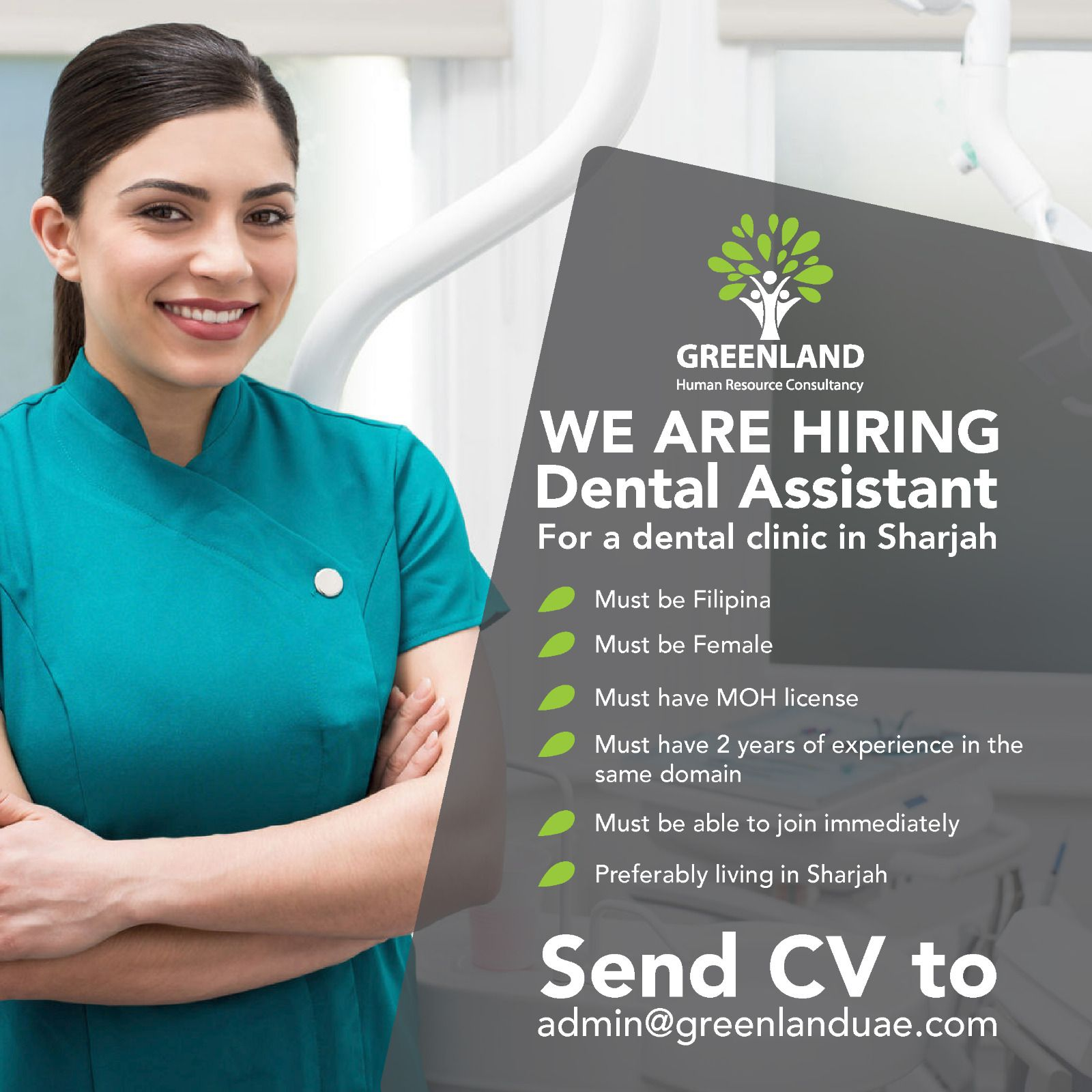 We Are Currently Looking For A Dental Assistant For A Dental Clinic In Sharjah Must Be Filipina Must Be Female Job Ads Dental Assistant We Are Hiring
