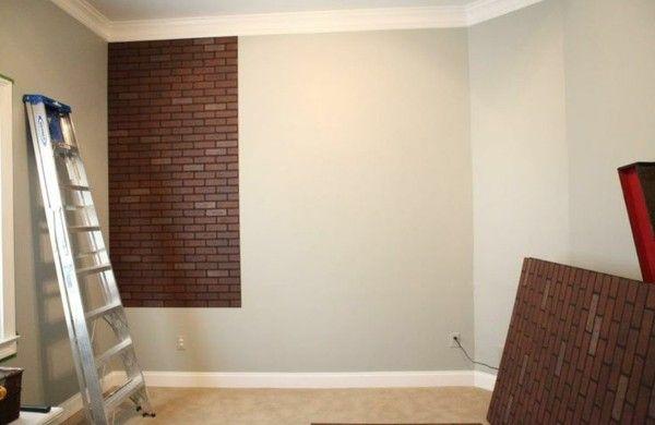 Wanddeko selber machen gef lschte backsteinwand als rustikale dekoration bar pinterest - Backsteinwand imitat ...