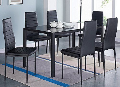 Ids Home 7piece Home Dining Dinette Kitchen 6 Person Furniture Set With Glass Top Metal Leg Glass Dining Table Glass Dining Table Set Modern Glass Dining Table