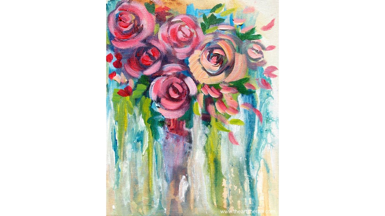 Easy drip roses step by step painting on canvas for for Easy way to paint a rose