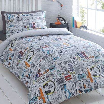 Bluezoo kids white gadget duvet cover and pillow case set bluezoo kids white gadget duvet cover and pillow case set debenhams gumiabroncs Image collections