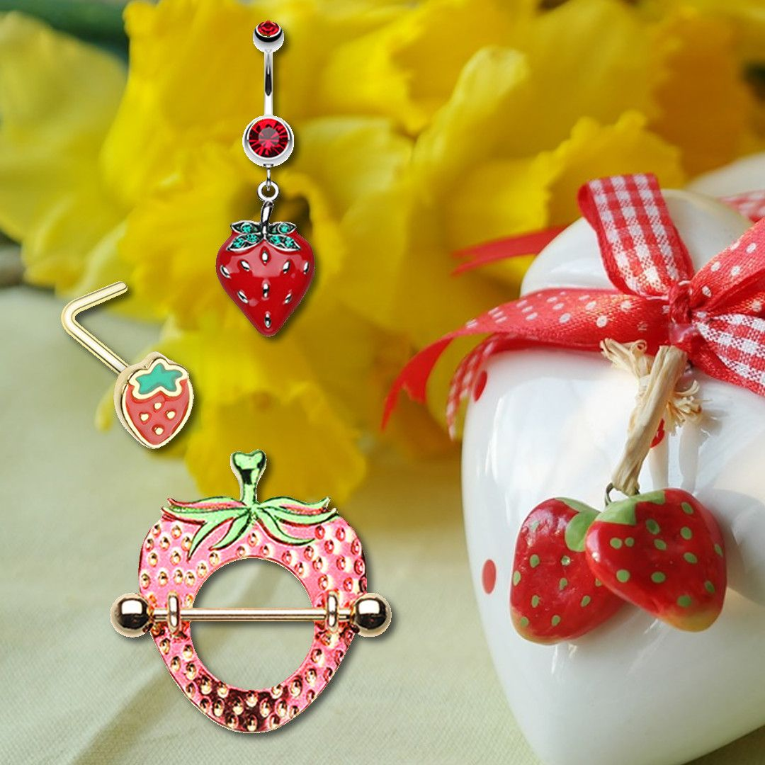 Love Strawberries for the Summer Nose Ring, Belly Ring, Nipple Ring - Rebel Bod Body Jewelry If you love strawberry, you will love these for your Spring look... #bodyjewelry, #body, #bodypierce, #bodypiercing, #bodytattoo. nipple ring, nipple rings, nose stud, nose ring, nose studs, nose rings, belly ring, belly rings, navel ring, navel rings
