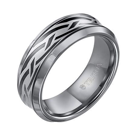 Theodore Men's Tungsten Wedding Band with Black Tribal Design from Steven Singer Jewelers