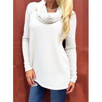 Stylish Turtleneck Long Sleeve Solid Color Women's Sweatshirt (OFF-WHITE,XL) in Sweatshirts & Hoodies | DressLily.com