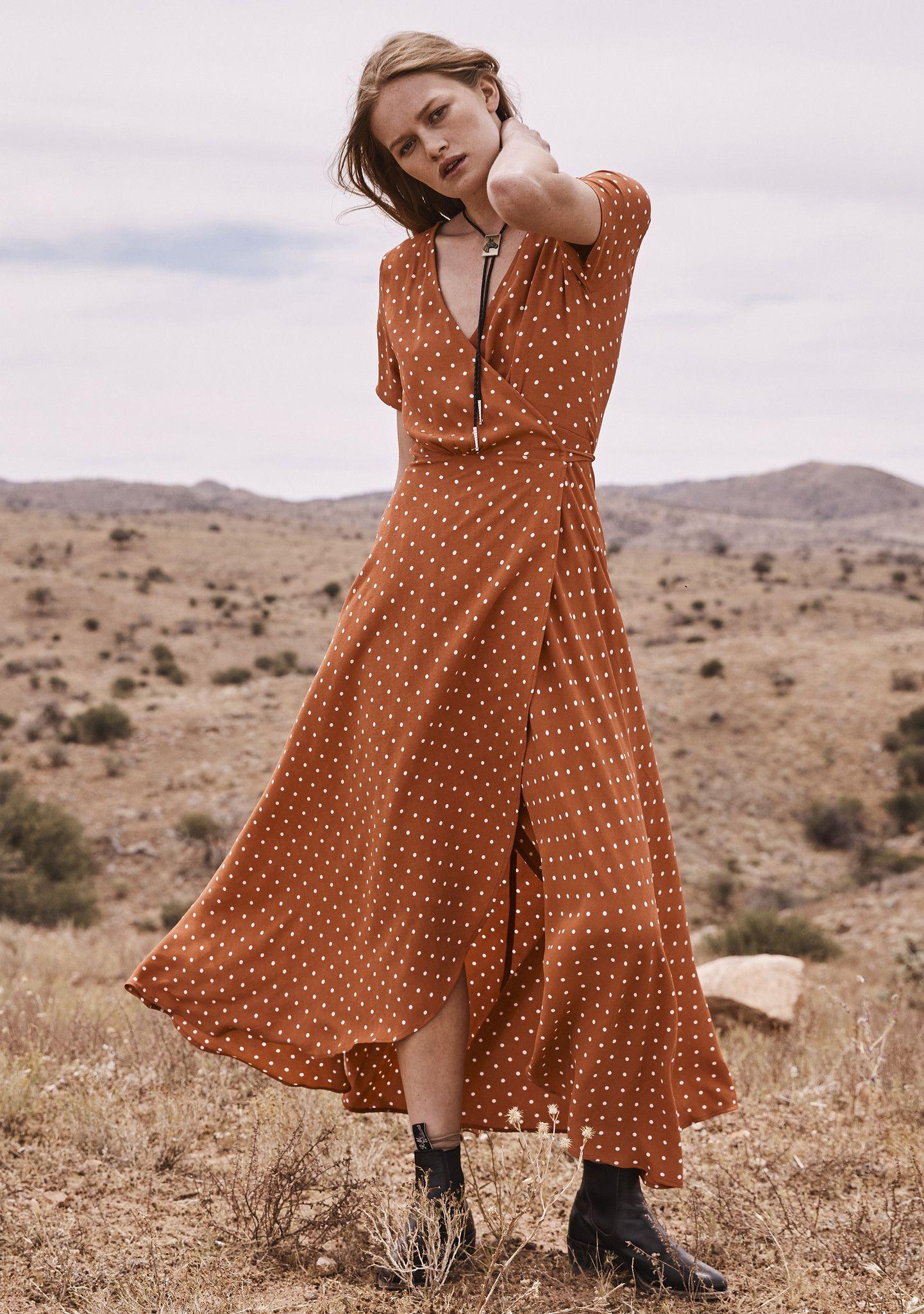 f8088b6218691a Lilly Wrap Maxi Dress Classic Polka Dot Rust | Bucket List | Dresses ...
