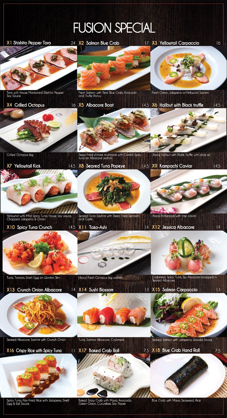 Menu - Fusion Sushi Japanese Restaurant | Manhattan Beach and Long ...
