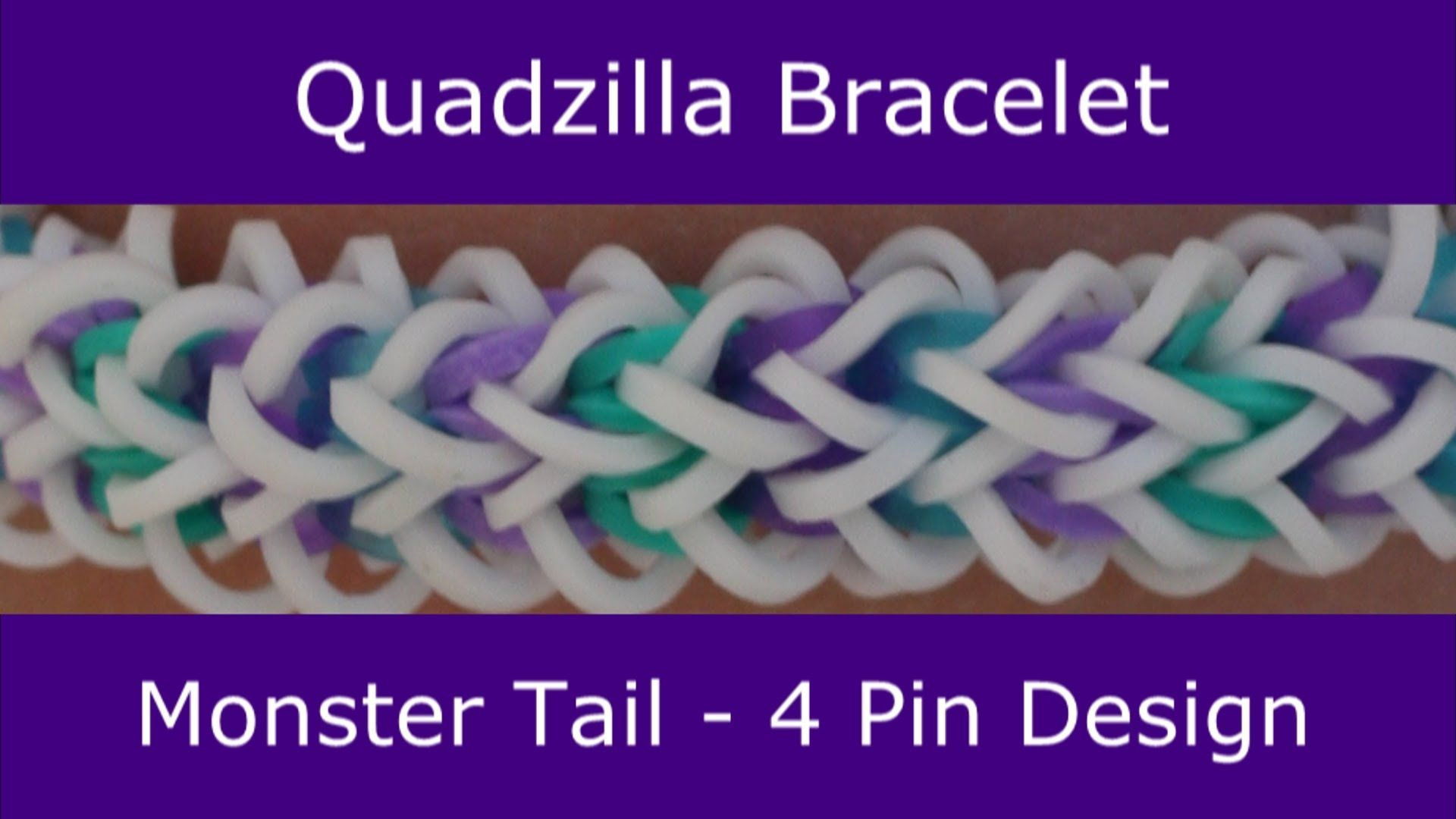 Monster tail quadzilla bracelet an official rainbow loom design