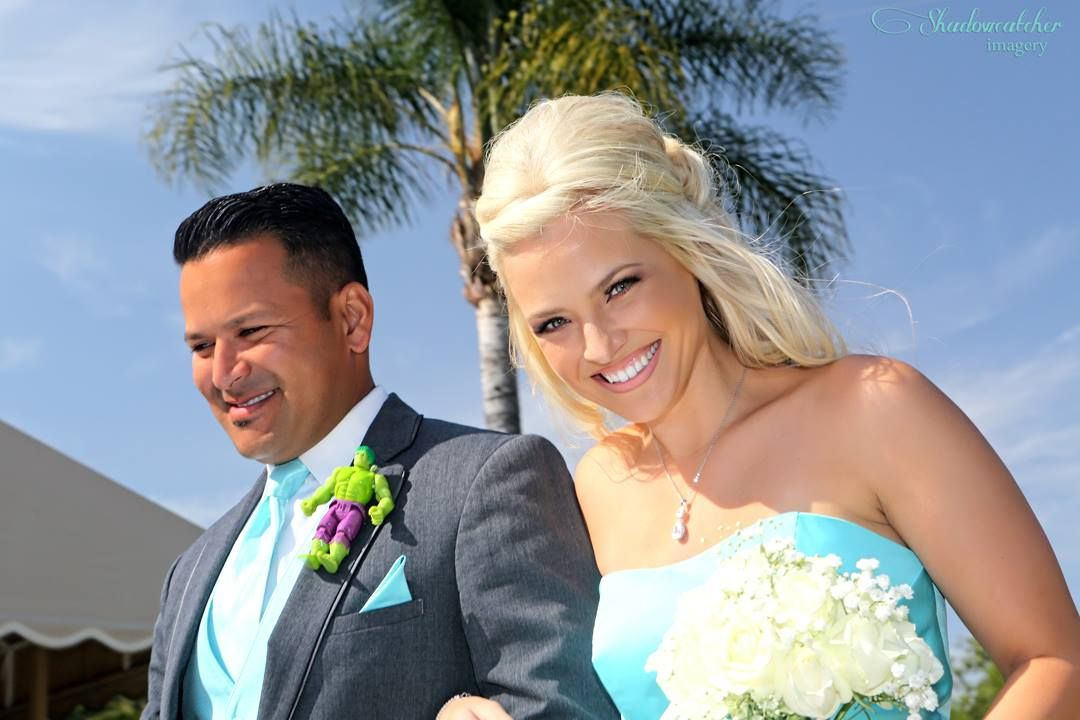 San Diego wedding photographer, Los Willows maid of honor and best man walking down the aisle.