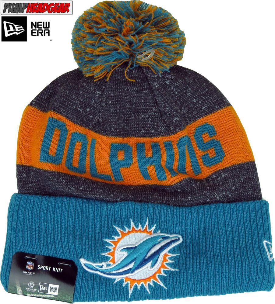 best website bc629 e48f3 Miami Dolphins New Era NFL Sideline Sport Knit Bobble Hat
