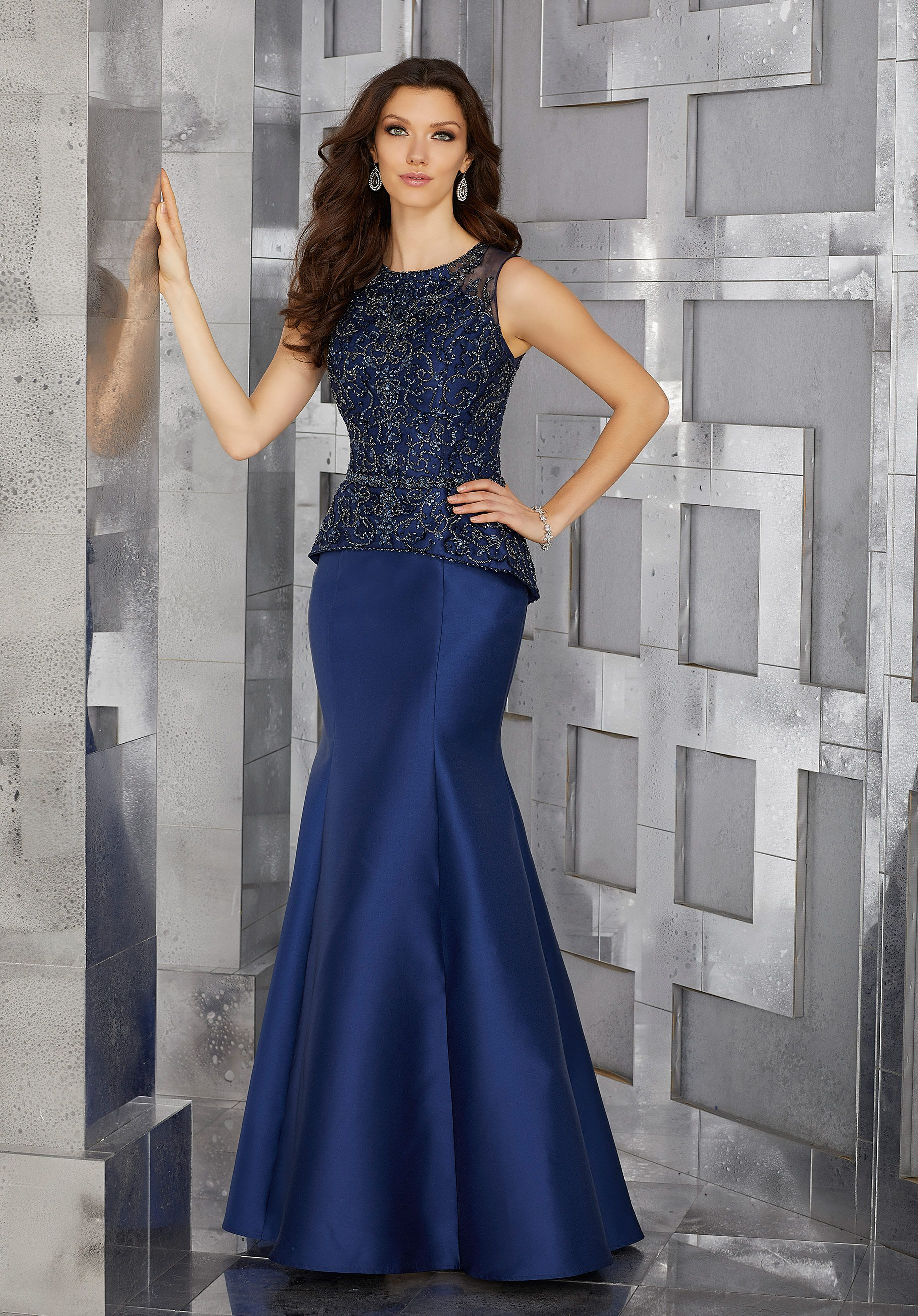 Mock twopiece special occasion gown with intricately beaded bodice