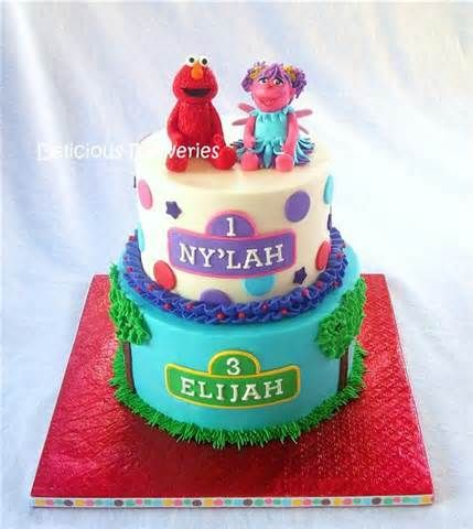 Double Birthday Elmo And Abby Cake Joint Birthday Parties