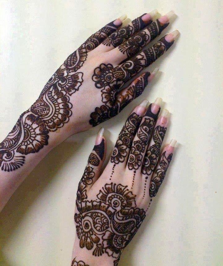 Full Back Hand Mehndi Designs Pakistani