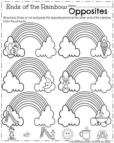 kindergarten opposites worksheet to teach antonyms kindergarten activities pinterest. Black Bedroom Furniture Sets. Home Design Ideas