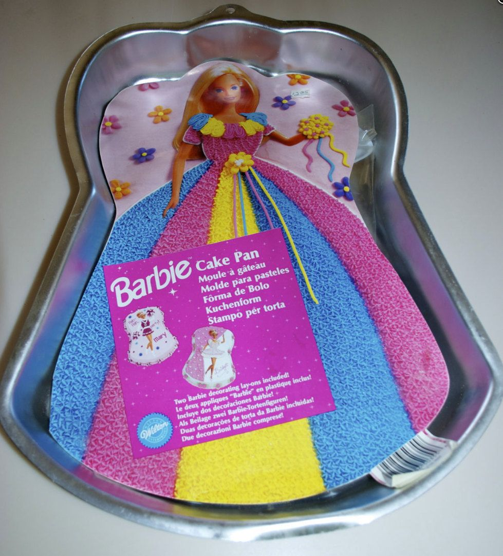 Barbie cake pan wilton 1997 with instructions toppers for